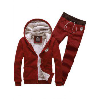 Zip Up Patch Hoodie and Sweatpants Twinset - WINE RED 2XL