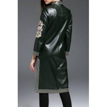 Faux Leather Slit Walker Coat - BLACKISH GREEN M