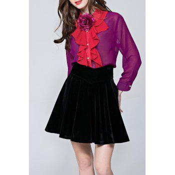 Pleated Ruffles Sheer Blouse