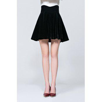 Mini Pleated Velvet Flare Skirt