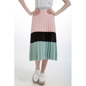 Color Block Pleated Knit Skirt