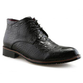 Embossed Tie Up PU Leather Boots