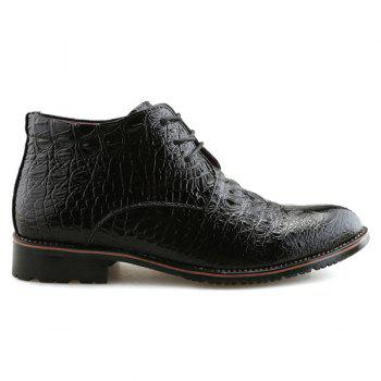 Embossed Tie Up PU Leather Boots - BLACK BLACK