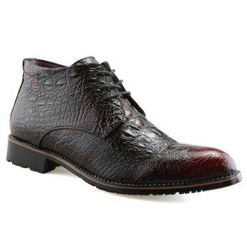 Embossed Tie Up PU Leather Boots - WINE RED 43