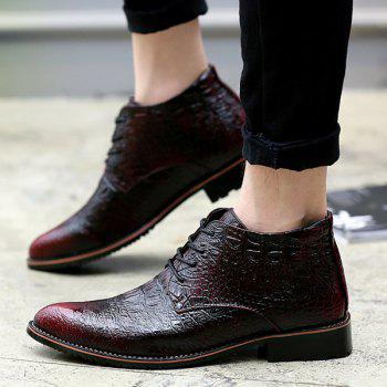 Embossed Tie Up PU Leather Boots - 43 43
