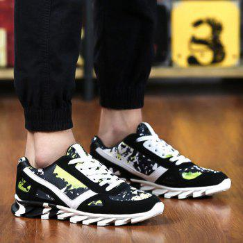 Tie Up Colour Spliced Print Athletic Shoes