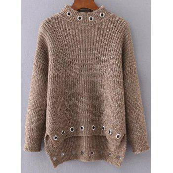 Ring Embellished High Low Ribbed Sweater