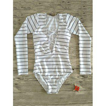 Plunge Neck Striped Long Sleeve One Piece Swimsuit