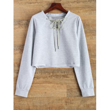 Lace Up Raw Cut Cropped Sweatshirt