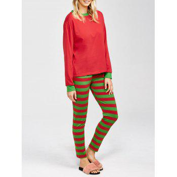 Two Tone Striped Loungewear Suit - RED AND GREEN M