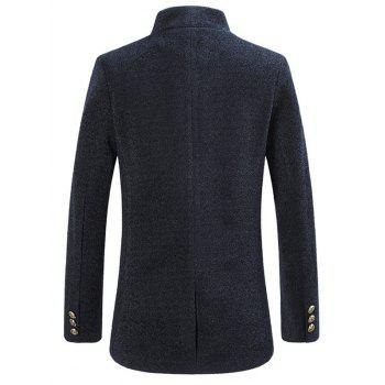 Single Breasted Stand Collar Woolen Coat - CADETBLUE 5XL