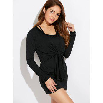 Casual Lace-Up Long Sleeve Popover Dress - BLACK L