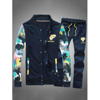 Button Up Camouflage Sleeve Jacket and Sweatpants Twinset - CADETBLUE CADETBLUE