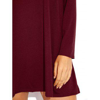 Scoop Neck Long Sleeve Skater Dress - BURGUNDY L