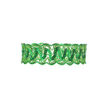 Sequins Choker Necklace - GREEN