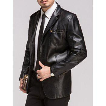 Button Up Lapel Pocket PU Leather Jacket - BLACK BLACK