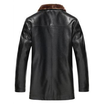 Plus Size Faux Fur Collar Single Breasted Flocking PU Leather Jacket - BLACK 4XL
