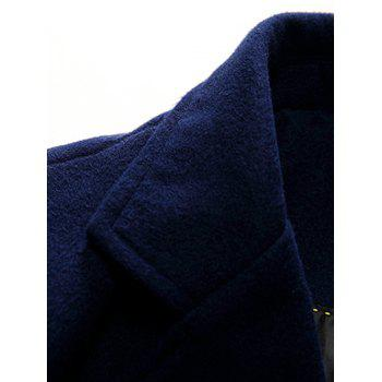 Lengthen Single Breasted Warmth Woolen Coat - DEEP BLUE XL