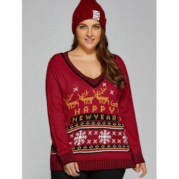 Christmas Elk Plus Size Graphic Sweater - DEEP RED XL