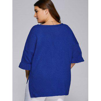 Flare Sleeves High Low Hem V Neck Sweater - BLUE 2XL