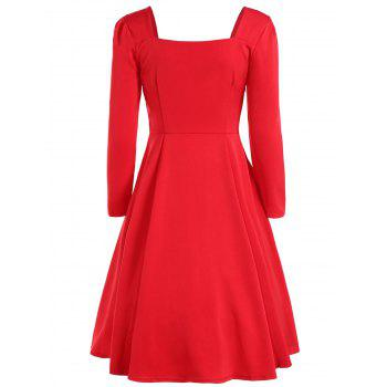 Sweetheart Neck Long Sleeve Swing Flare Dress - RED M