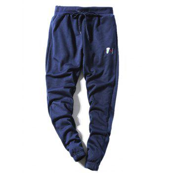 Zip Up Embroidery Hoodie and Jogger Pants Twinset - CADETBLUE 2XL