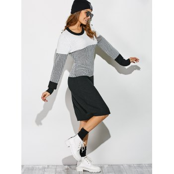 Casual Contrast Trim Knit Dress - WHITE/BLACK ONE SIZE