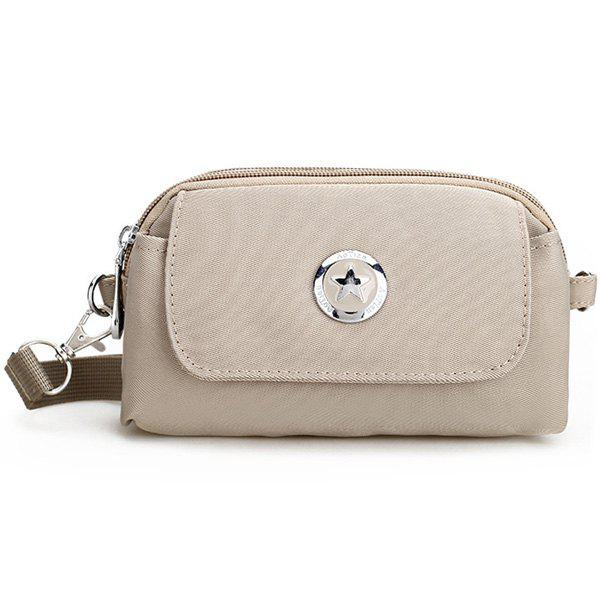 Nylon Metal Double Zipper Clutch Bag - LIGHT KHAKI