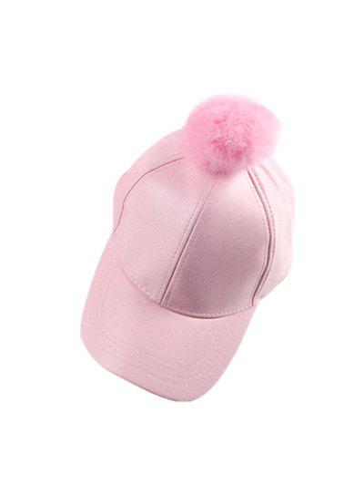 Winter Faux Leather Fur Pompom Baseball Hat - PINK