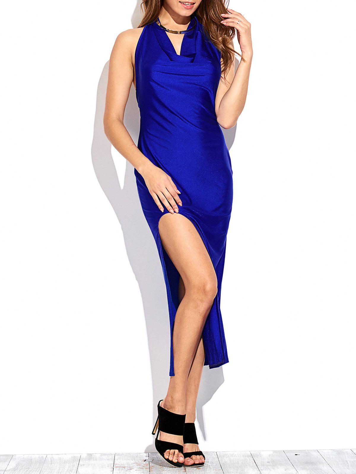 Draped Front Thigh Split Prom DressWomen<br><br><br>Size: L<br>Color: SAPPHIRE BLUE