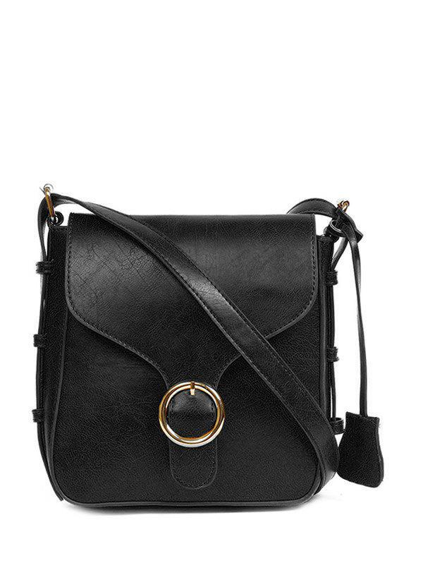 Retro Buckle PU Leather Cross Body BagBags<br><br><br>Color: BLACK