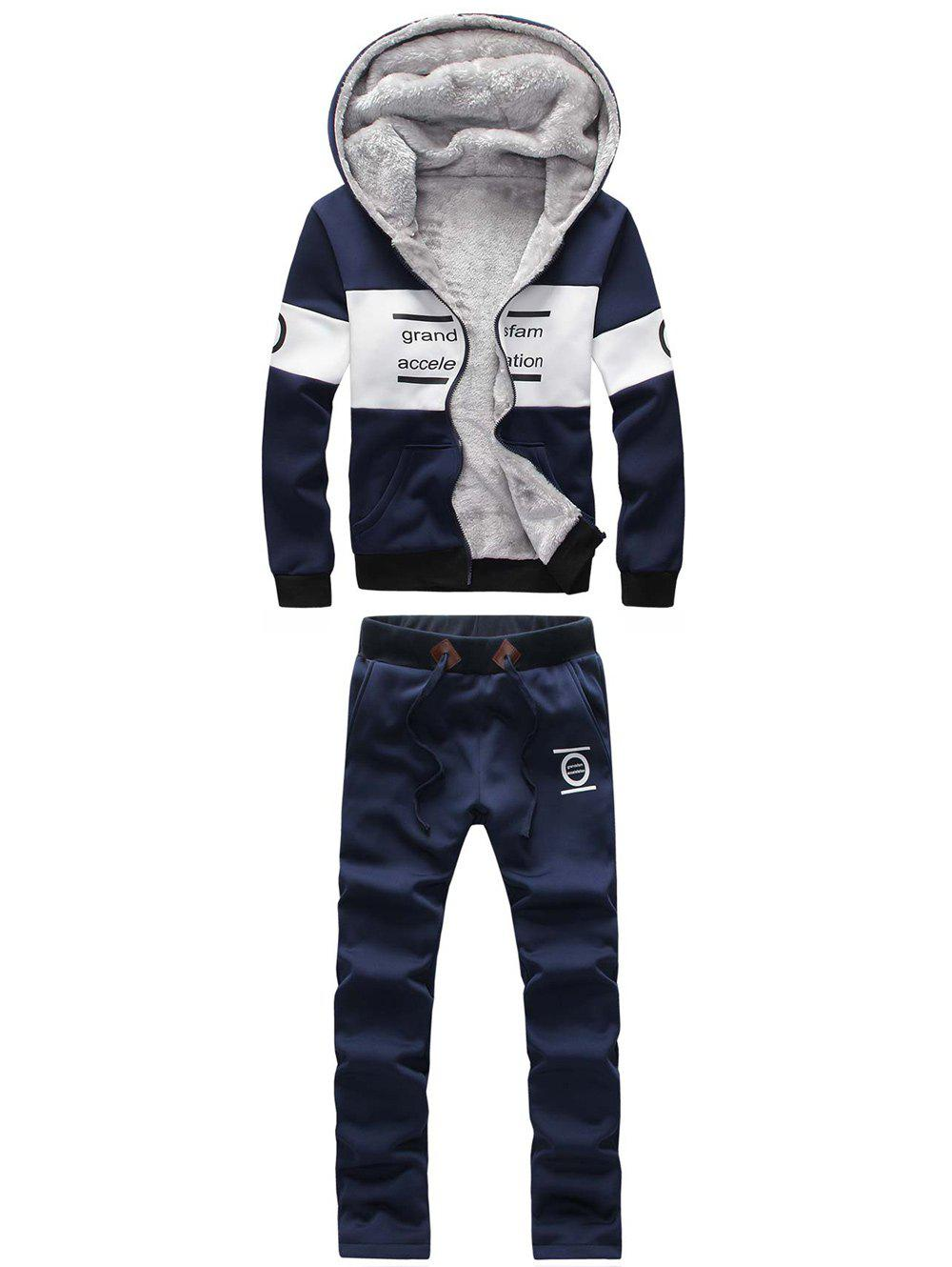 Zip Up Printed Graphic Hoodie et Sweatpants Twinset - Cadetblue M
