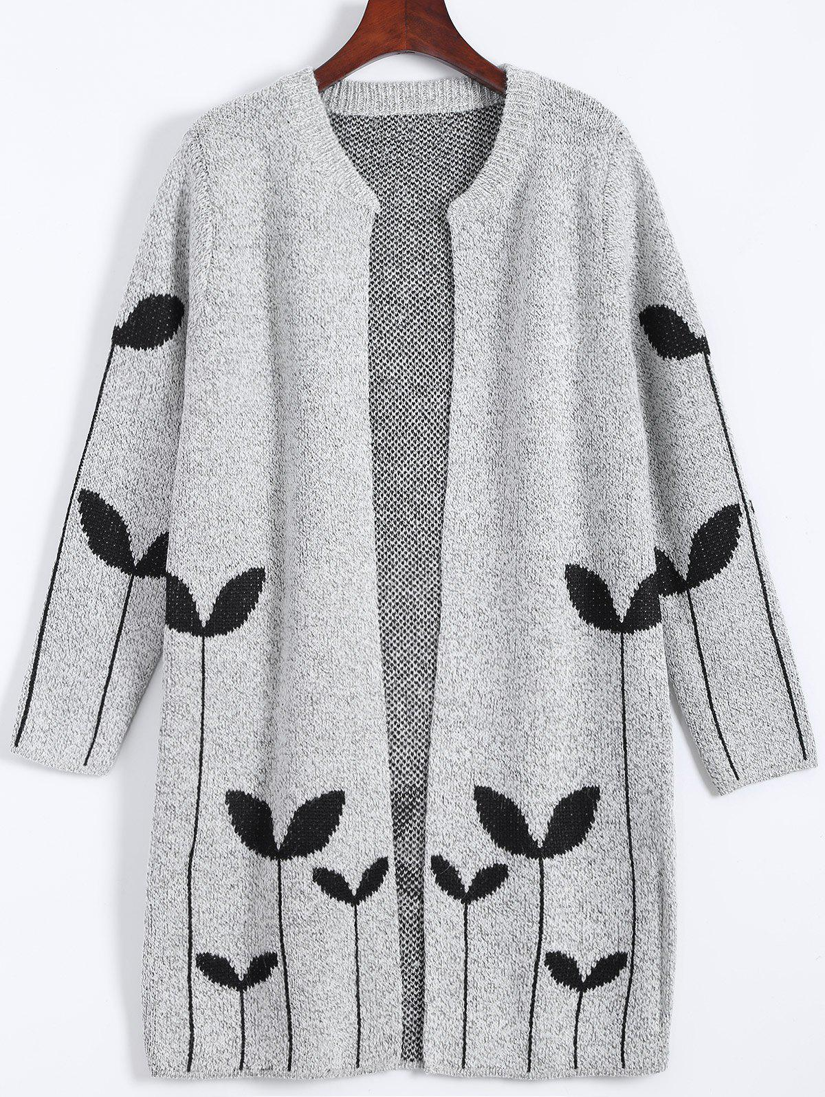 2017 Graphic Open Cute Plus Size Cardigan LIGHT GRAY XL In Plus ...