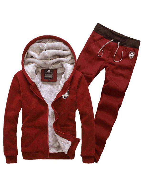 Zip Up Patch Hoodie and Sweatpants Twinset - WINE RED XL