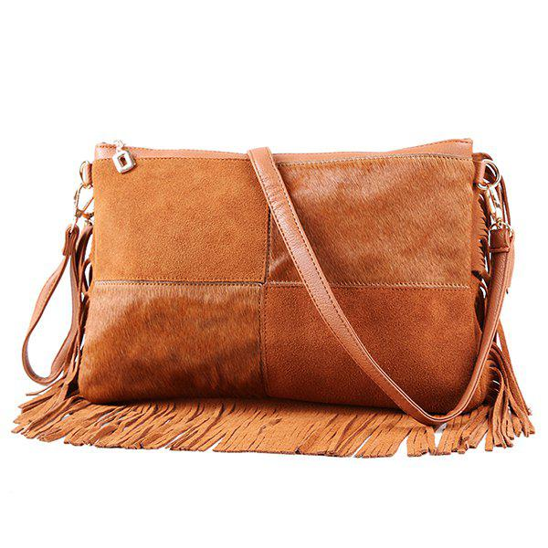 Fringe Large Crossbody BagBags<br><br><br>Color: BROWN