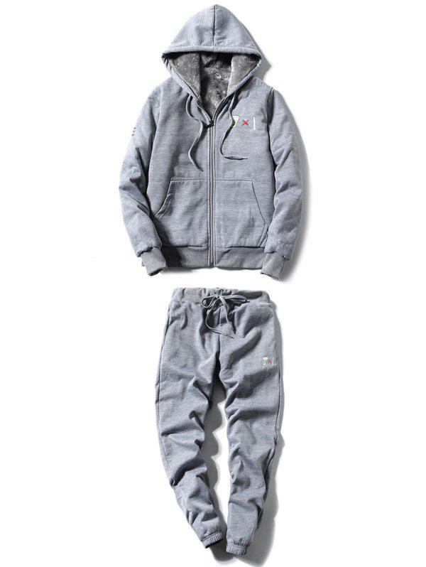 Zip Up Embroidery Hoodie and Jogger Pants Twinset