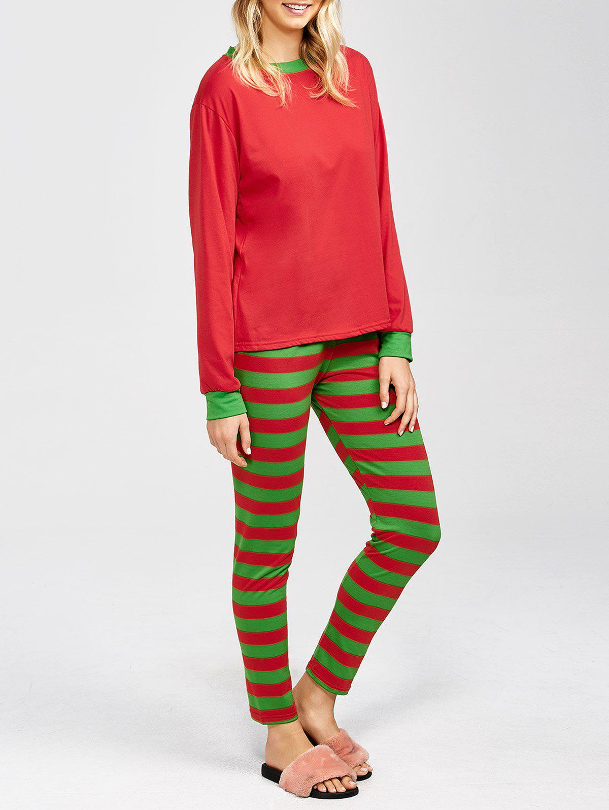 Two Tone Striped Loungewear Suit - RED/GREEN M