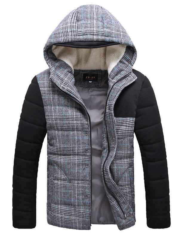 Flocking Hooded Zippered Plaid Padded Jacket - BLUE XL