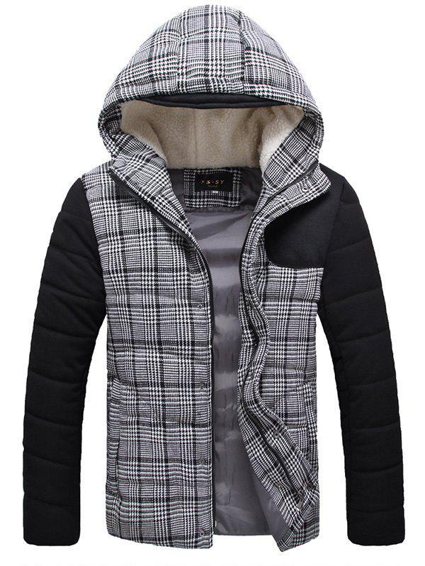 Flocking Hooded Zippered Plaid Padded Jacket - GRAY L