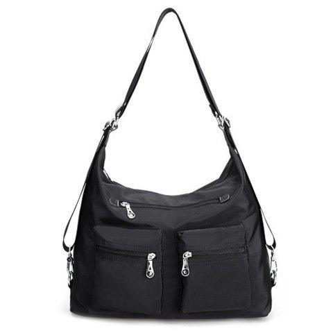 Nylon Double Pocket Zippers Shoulder Bag - BLACK