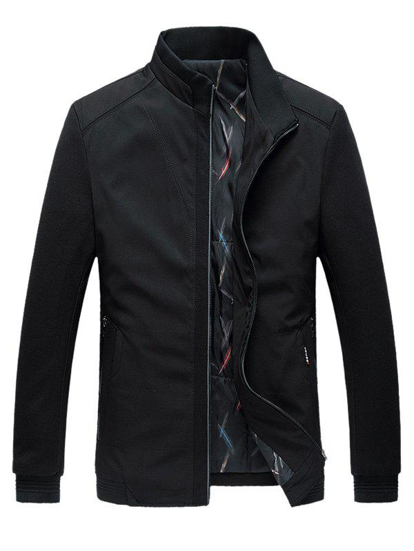 Stand Collar Warmth Padded Zip Up Plus Size Jacket - BLACK L
