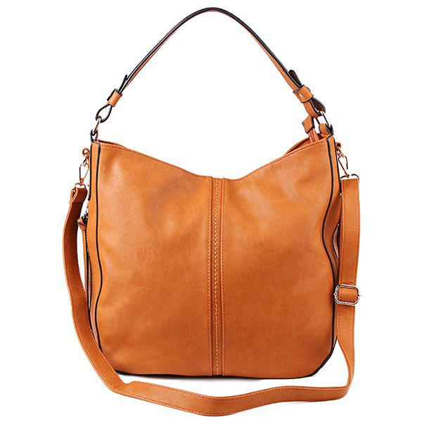 PU Leather Stitching Retro Shoulder BagBags<br><br><br>Color: BROWN
