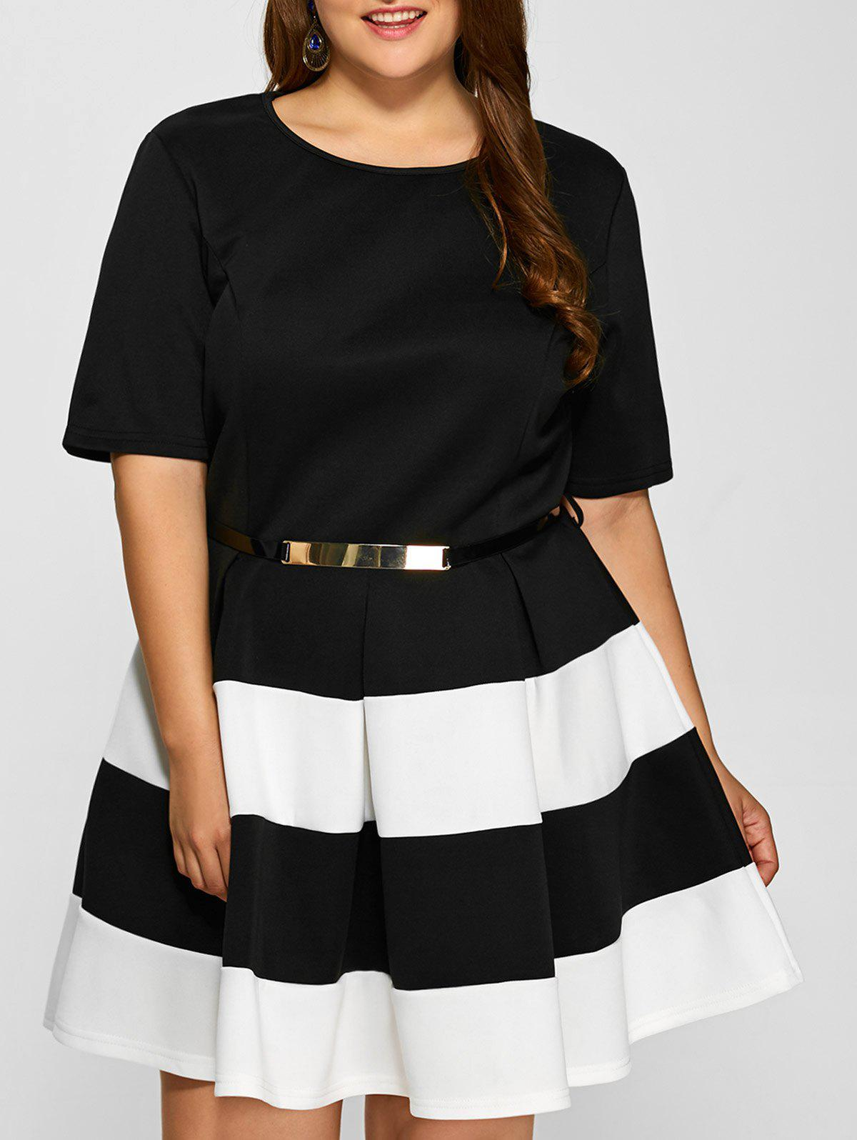 Plus Size Belted Striped Pleated Skater Dress - WHITE XL