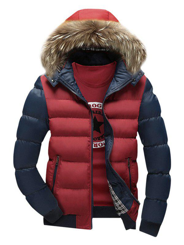 Faux Fur Hooded Zip Pocket Padded Jacket - CLARET L