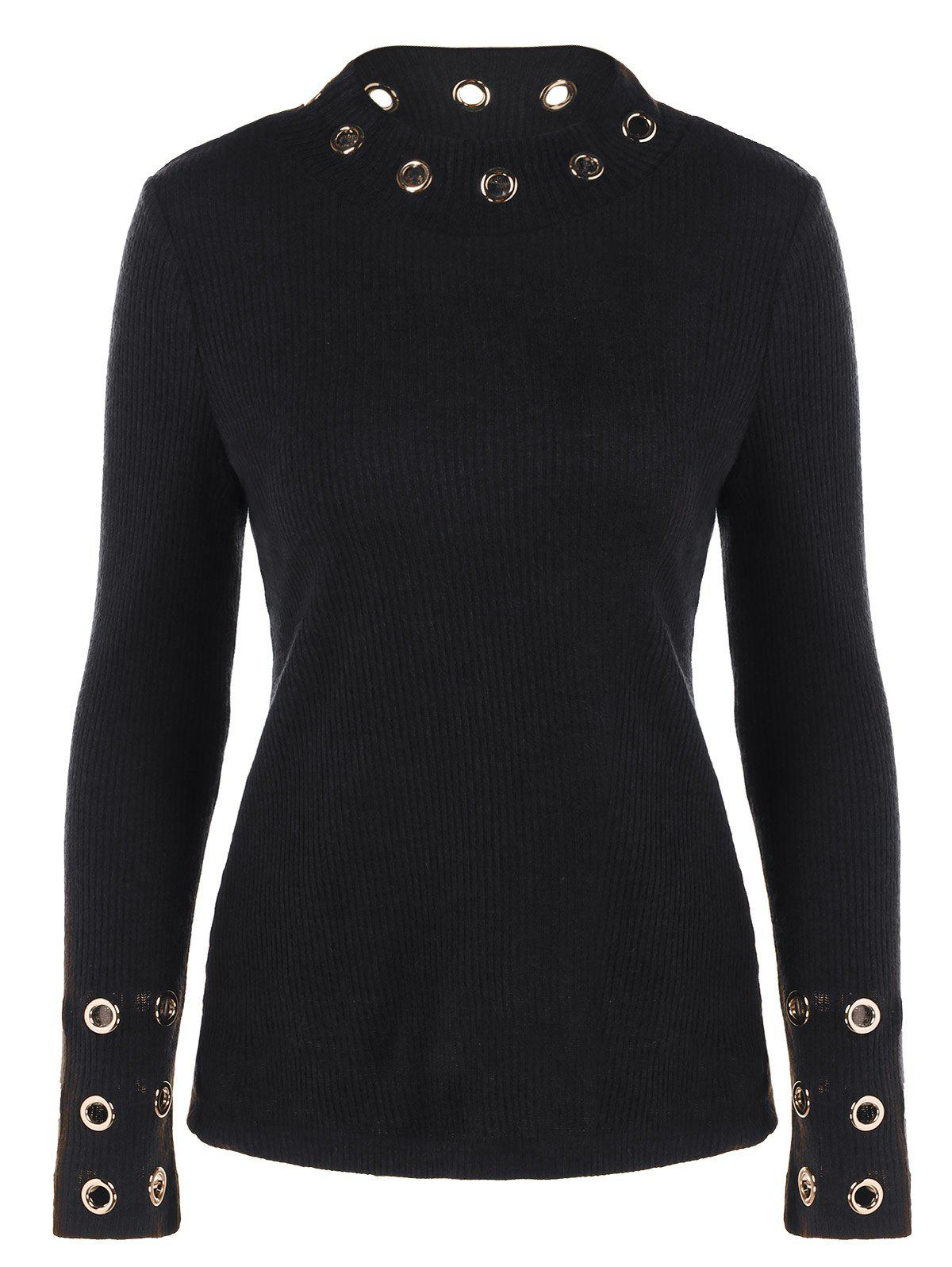 Ribbed Knitwear with Eyelet Embellished - BLACK L