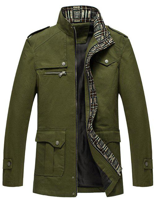 Zip Up Pocket Epaulet Design Jacket - ARMY GREEN XL