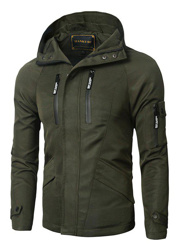 Buy Zipper Design Hooded Thicken Cotton Jacket ARMY GREEN