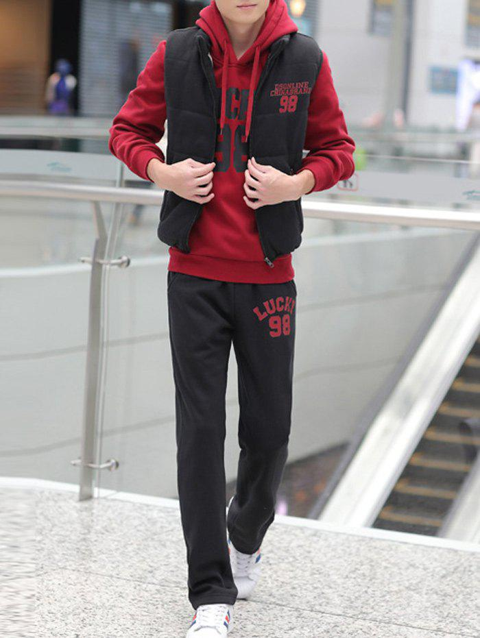 98 Lucky Printed Pullover Hoodie with Vest and Sweatpants - RED 2XL