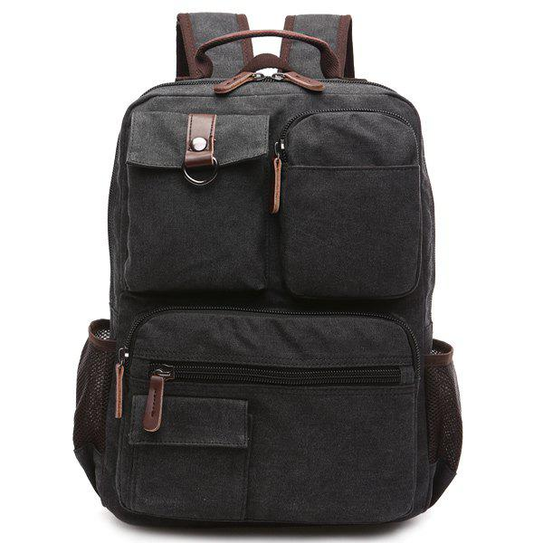 Colour Block Pockets Canvas Backpack - BLACK