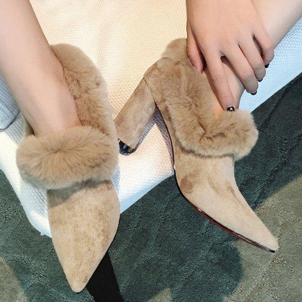 Flock Chunky Heel Faux Fur Pumps - CAMEL 37